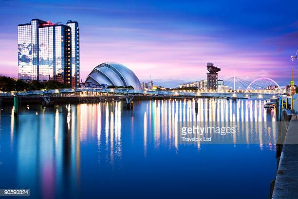 scottish exhibition conference center viewed over  - glasgow scotland stock pictures, royalty-free photos & images