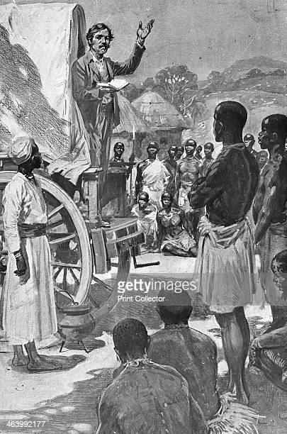 Scottish explorer and missionary David Livingstone preaching from a wagon Africa 19th century Livingstone was the first European to discover the...