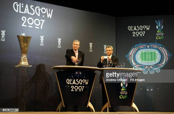 Scottish FA Chief Executive David Taylor with ex player Billy McNeill during the UEFA Cup Handover and Final Phase Draw held at the historic Old...