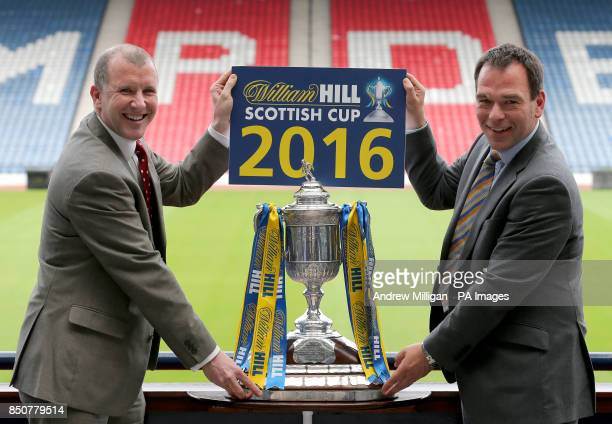 Scottish FA Chief Executive Stewart Regan with William Hill's Chef Marketing Officer Kristof Fahy after announcing William Hill's new twoyear...