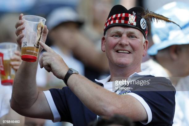Scottish fan wit Budweiser World Cup beer during the 2018 FIFA World Cup Russia group D match between Argentina and Iceland at the Spartak Stadium on...