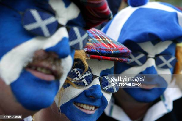 Scottish fans show their true colors prior to the quarter-final Rugby World Cup 2003 match between Australia and Scotland at the Suncorp Stadium in...