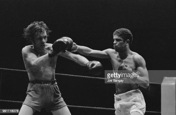 Scottish featherweight boxer Vernon Sollas fighting against boxer Mickey Prior at the The Royal Albert Hall London UK 6th June 1973