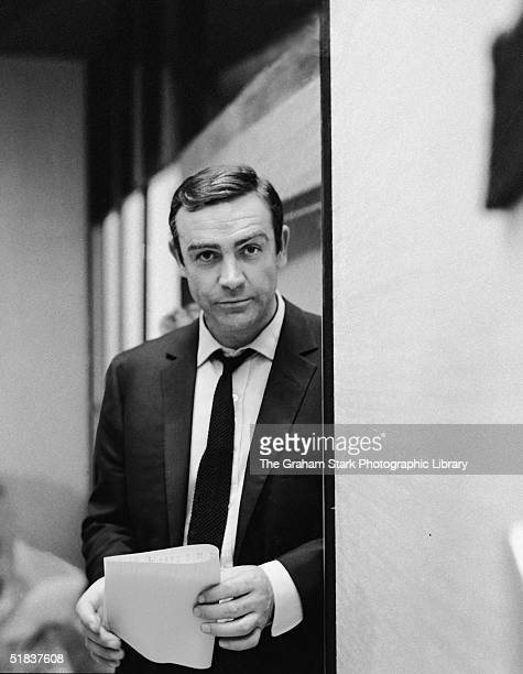Scottish film actor Sean Connery at Pinewood Studios where he is filming 'You Only Live Twice' with director Lewis Gillbert 1967