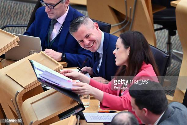 Scottish Finance Secretary Derek Mackay and Public Finance Minister Kate Forbes during the Stage 3 debate in the Scottish Parliament on the...