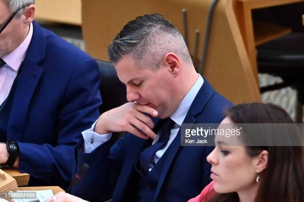 Scottish Finance Secretary Derek Mackay during the Stage 3 debate in the Scottish Parliament on the NonDomestic Rates Bill on February 4 2020 in...