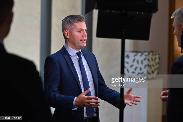 Scottish Finance Secretary Derek Mackay is interviewed in the lobby of the Scottish Parliament on the upcoming Scottish Budget on January 21 2020 in...