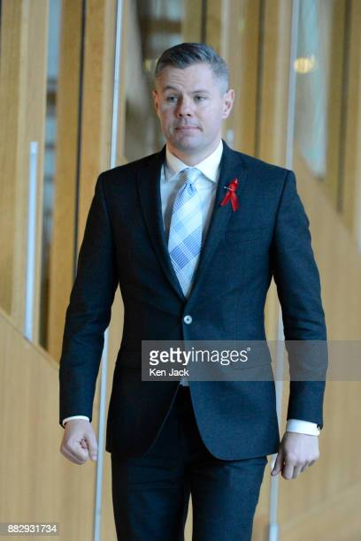 Scottish Finance Secretary Derek Mackay on the way to First Minister's Questions in the Scottish Parliament on November 30 2017 in Edinburgh Scotland