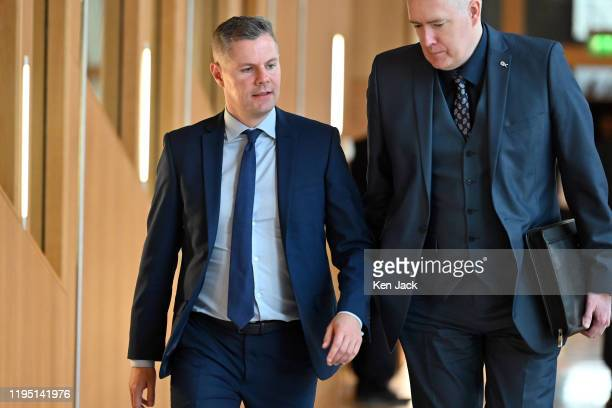 Scottish Finance Secretary Derek Mackay on the way to lead the Stage 3 debate in the Scottish Parliament on the Scottish National Investment Bank...