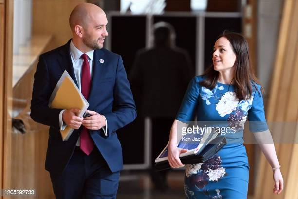 Scottish Finance Secretary Kate Forbes on the way to chamber of the Scottish Parliament to lead the Stage 3 stage of the Budget, accompanied by...