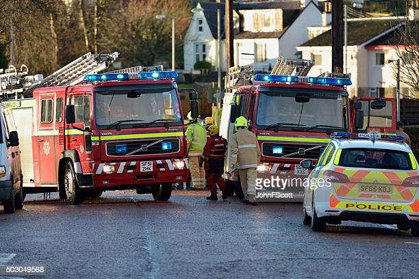 Scottish fire brigade personnel attending a flood