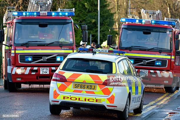 scottish fire brigade personnel attending a flood - rescue services occupation stock photos and pictures