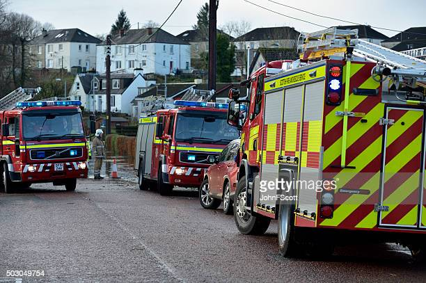 Scottish fire brigade personnel attending a flood