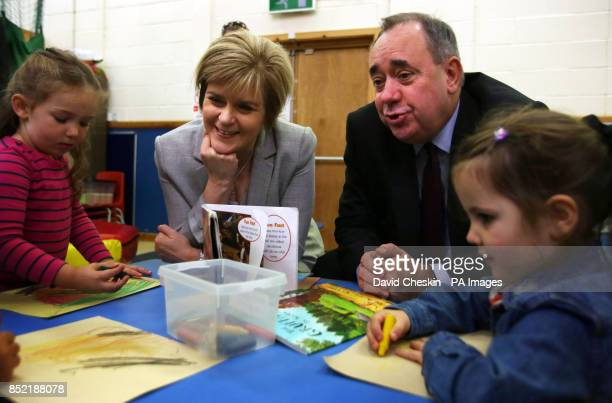 Scottish First Minister Alex Salmond and Deputy First Minister Nicola Sturgeon visit a childcare centre in Edinburgh ahead of a debate at the...