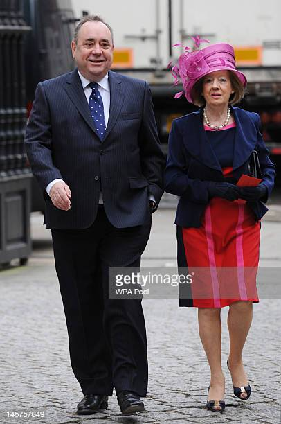 Scottish First Minister Alex Salmond and his wife Moira arrive at St Paul's Cathedral for a service of thanksgiving to mark the Queen's Diamond...