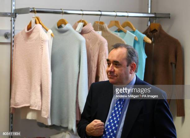 Scottish First Minister Alex Salmond during a visit to cashmere yarn manufacturer Todd Duncan following its acquisition by Ningxia Zhongyin Cashmere...