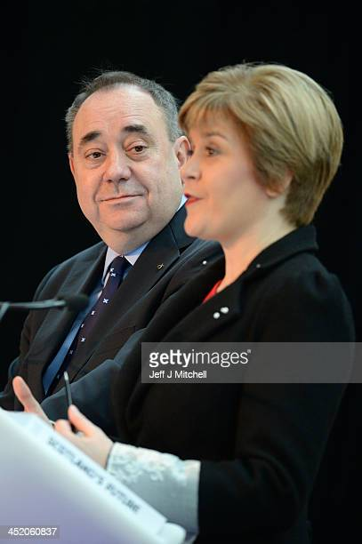 Scottish First Minister Alex Salmond looks on as Deputy First Minister Nicola Sturgeon presents the White Paper for Scottish independance at the...