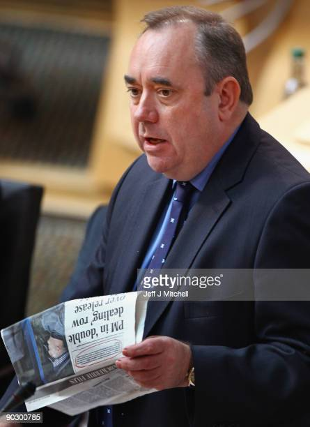 Scottish First Minister Alex Salmond quotes a newspaper article during the debate on the handling of the release of the terminally ill Lockerbie...