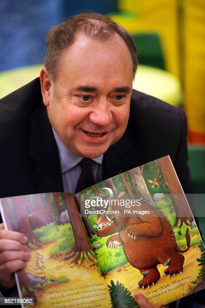 Scottish First Minister Alex Salmond visits a childcare centre in Edinburgh ahead of a debate at the Scottish Parliament on Scottish Independence
