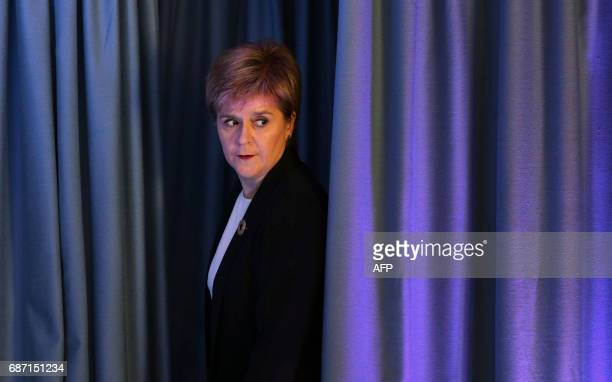 Scottish First Minister and Leader of the SNP Nicola Sturgeon speaks to the media in Edinburgh on May 23 in response to a deadly suspected suicide...