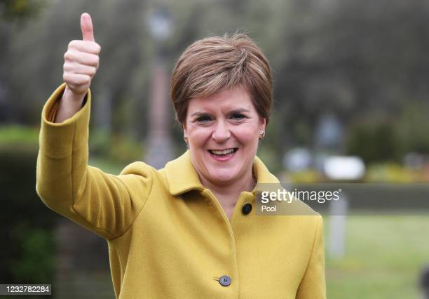 Scottish First Minister and SNP leader Nicola Sturgeon during a visit to Airdrie on May 9, 2021 in North Lanarkshire, Scotland. Sturgeon's Scottish...