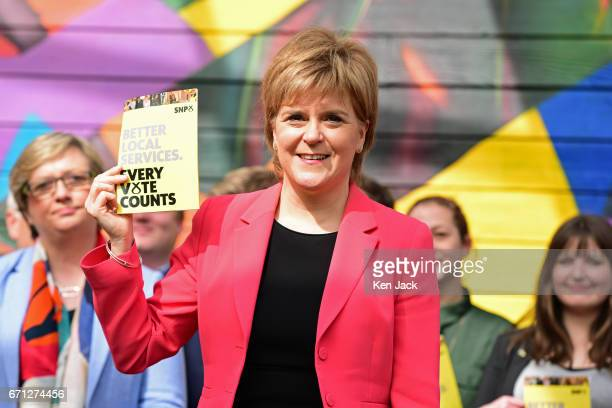 Scottish First Minister and SNP leader Nicola Sturgeon launches the party's manifesto for the local government elections campaign at WHALE community...
