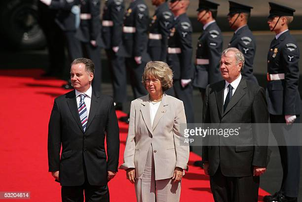 Scottish First Minister Jack McConnell greets Canadian Prime Minister Paul Martin and his wife Sheila Martin as they arrive in Prestwick Airport 06...