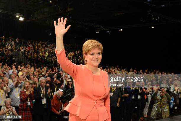 Scottish First Minister Nicola Sturgeon acknowledges applause after delivering her keynote address to delegates on the final day of the SNP Annual...