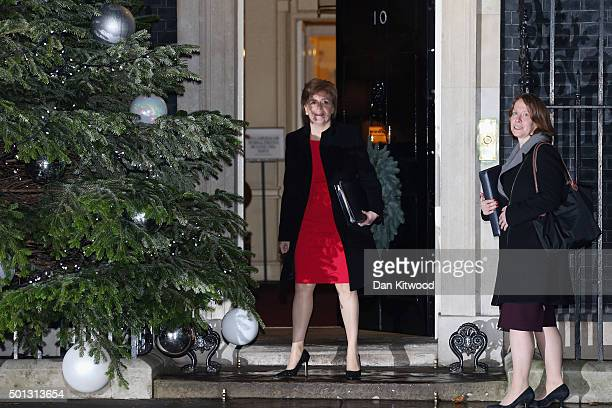 Scottish First Minister Nicola Sturgeon and her Cheif of Staff Elizabeth Lloyd arrive at Downing Street for a meeting with British Prime Minister...