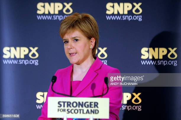 Scottish First Minister Nicola Sturgeon and leader of the Scottish National Party speaks at a press conference in Stirling on September 2 2016...
