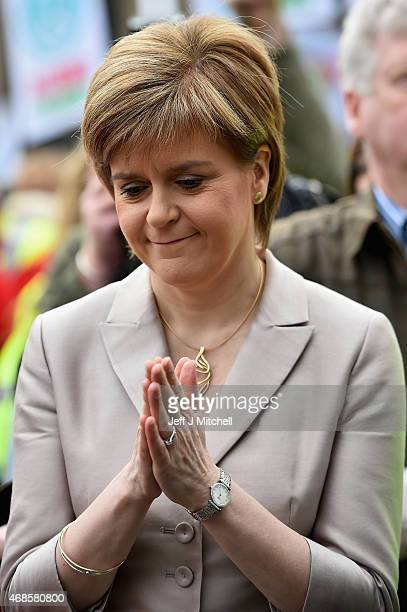 Scottish First Minister Nicola Sturgeon and SNP leader addresses the annual CND Scotland Scrap Trident rally in George Square on April 4 2015 in...