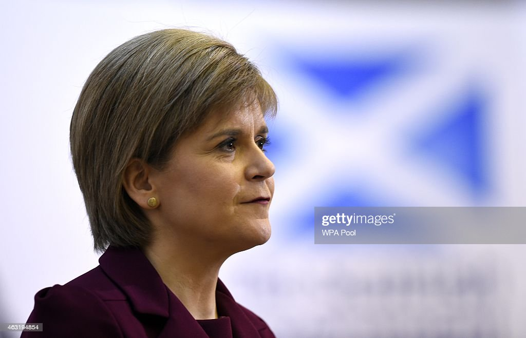 Nicola Sturgeon Delivers Anti-Austerity Speech At Universtiy College London : News Photo