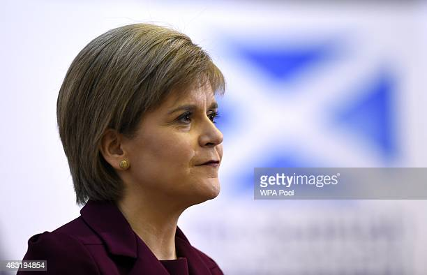 Scottish First Minister Nicola Sturgeon answers questions after delivering a speech at University College London on February 11 2015 in London...