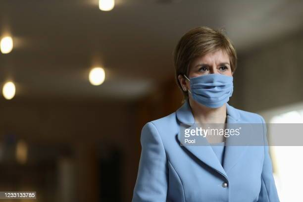 Scottish First Minister Nicola Sturgeon arrives to attend First Minister's Questions at Scottish Parliament Building on May 27, 2021 in Edinburgh,...