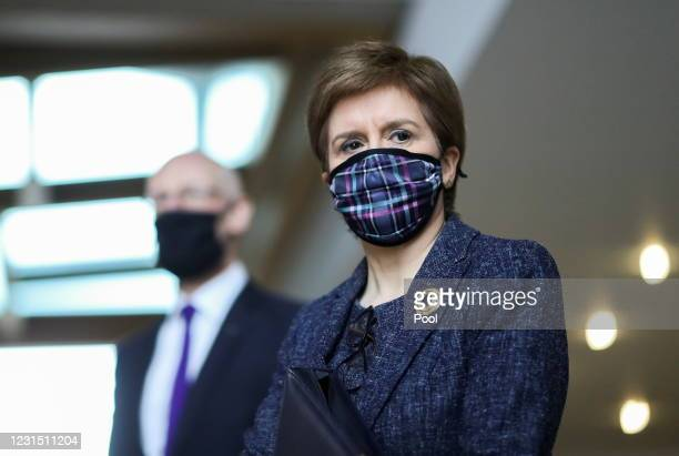 Scottish First Minister Nicola Sturgeon arrives to attend the First Minister's Questions at Scottish Parliament Building on March 4, 2021 in...