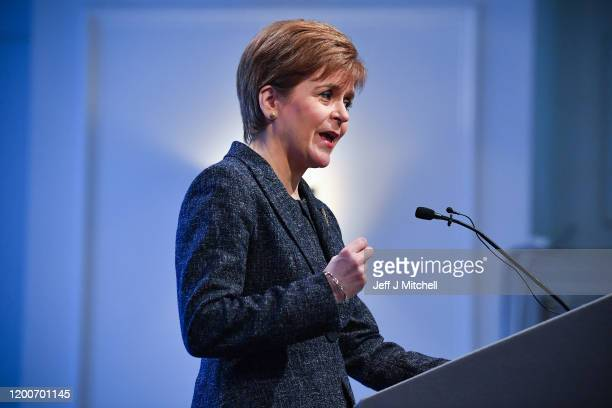 Scottish First Minister Nicola Sturgeon attends an event at the Charlotte Hotel to celebrate the positive impact of EU citizens and to announce...