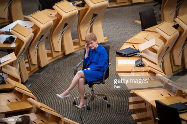 Scottish First Minister Nicola Sturgeon attends First Minister's Questions at the Scottish Parliament on November 12, 2020 in Edinburgh, Scotland.