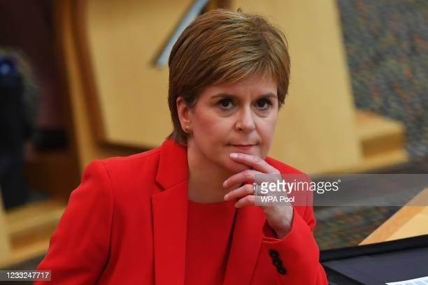 Scottish First Minister Nicola Sturgeon attends First Ministers Questions at the Scottish Parliament on June 3, 2021 in Edinburgh, Scotland.