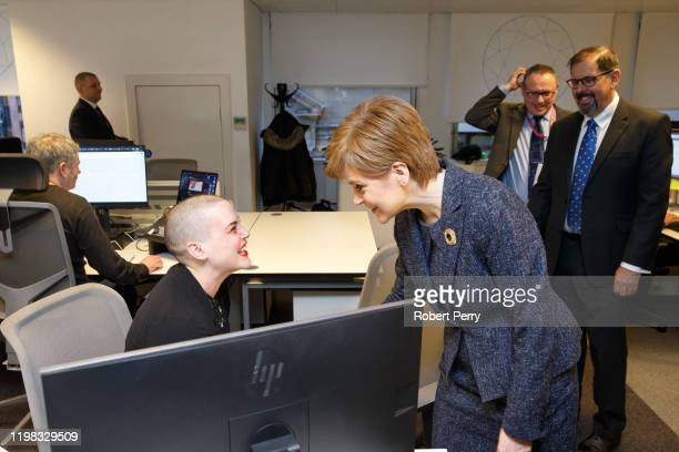 Scottish First Minister Nicola Sturgeon chats with Louise Meney , a software engineer as she visits Encompass Corporation to announced £1.9m Scottish...