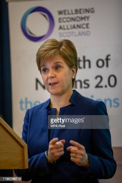 Scottish First Minister Nicola Sturgeon delivers the keynote address to the Wealth of Nations 2.0 Conference at Edinburgh University on January 22,...
