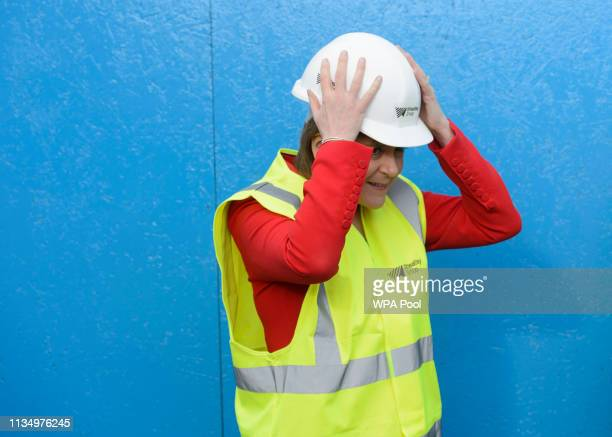 Scottish First Minister Nicola Sturgeon during her visit to a building site in Easterhouse on April 05 2019 in Glasgow United Kingdom The Scottish...