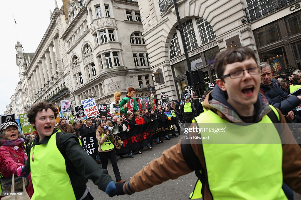 Scottish First Minister Nicola Sturgeon joins demonstrators on a 'Stop Trident' march though central London on February 27, 2016 in London, England. The leaders of three political parties will attend the march today. Labour leader Jeremy Corbyn, SNP leader Nicola Sturgeon and Plaid Cymru leader Leanne Wood are expected to speak to thousands of protesters in support of the Stop Trident campaign.