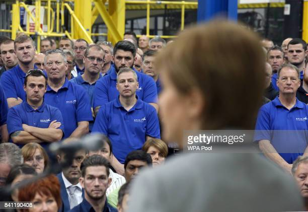 Scottish First Minister Nicola Sturgeon makes a keynote speech on Scotland's economy at Spirit Aerospace in Prestwick where she was also given a tour...