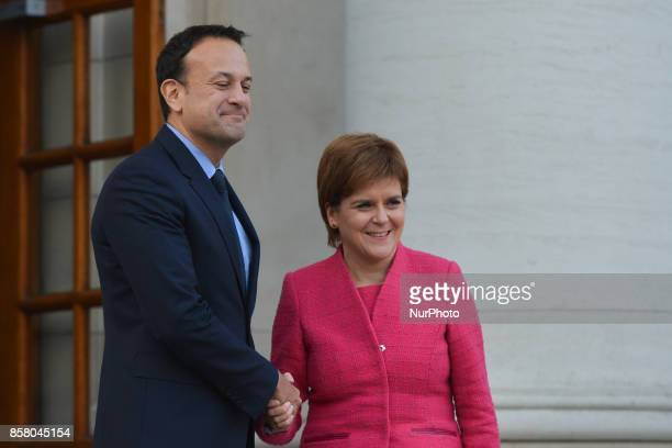 Scottish First Minister Nicola Sturgeon meets Taoiseach Leo Varadkar at Government Buildings in Dublin ahead of her speech at the Dublin Chamber...