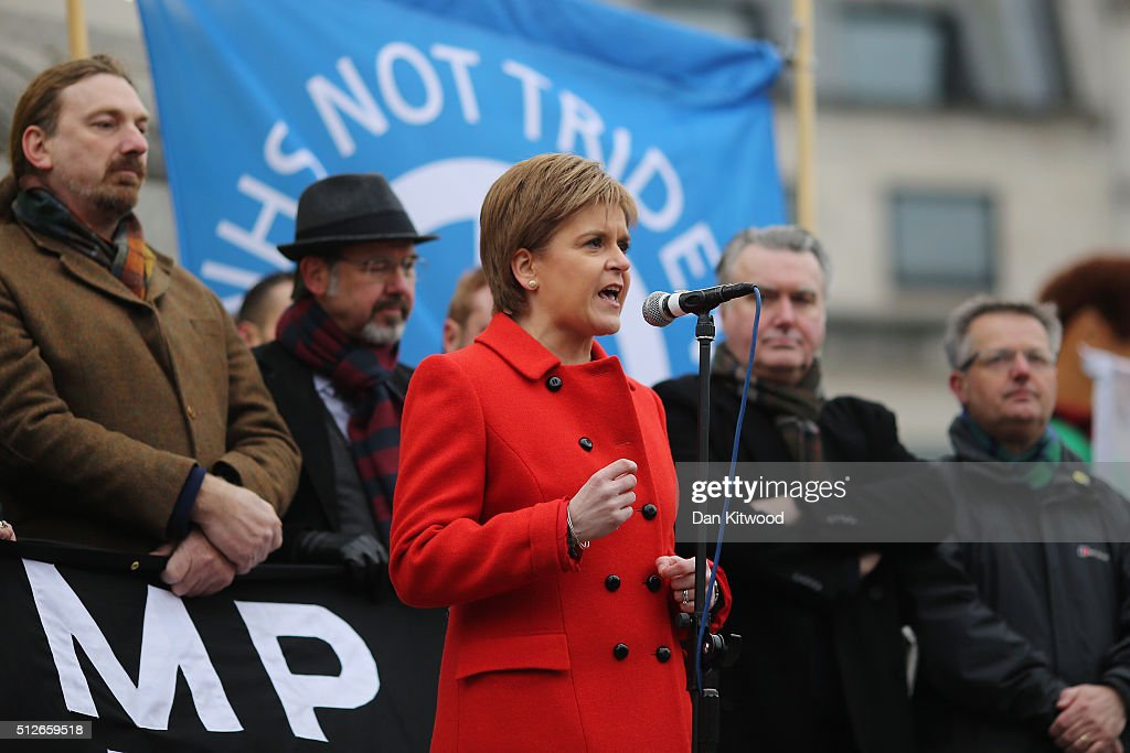 Scottish First Minister Nicola Sturgeon speaks to crowds in Trafalgar Square after a 'Stop Trident' march though central London on February 27, 2016 in London, England. The leaders of three political parties will attend the march today. Labour leader Jeremy Corbyn, SNP leader Nicola Sturgeon and Plaid Cymru leader Leanne Wood are expected to speak to thousands of protesters in support of the Stop Trident campaign.