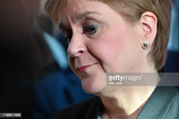 Scottish First Minister Nicola Sturgeon speaks to the media after First Minister's Questions in the Scottish Parliament following the resignation of...