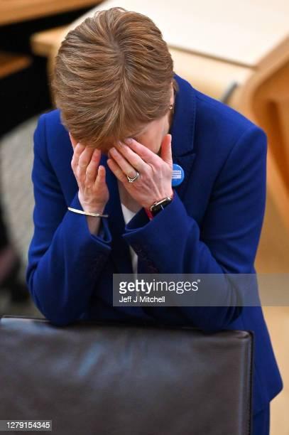 Scottish First Minister Nicola Sturgeon takes questions during First Minister's Questions at the Scottish Parliament on October 8, 2020 in Edinburgh,...