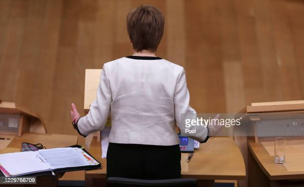 Scottish First Minister Nicola Sturgeon updates MSPs on any changes to the Covid-19 five-level system at the Scottish Parliament on November 24, 2020...
