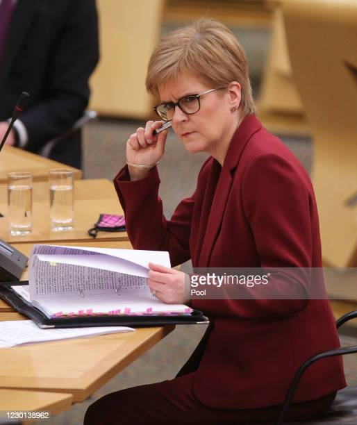 Scottish First Minister, Nicola Sturgeon updates MSPs on any changes to the Covid-19 five-level system in Scotland today at the parliament in...