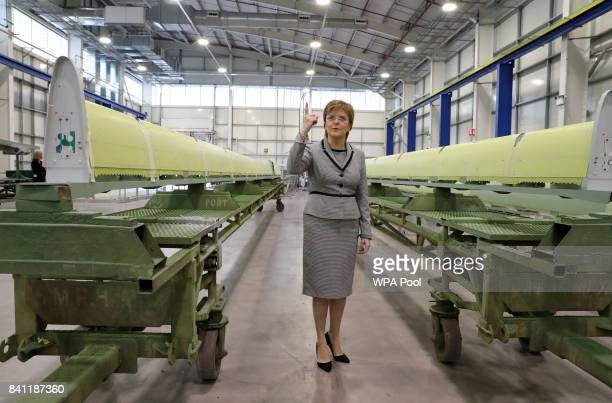 Scottish First Minister Nicola Sturgeon views aircraft wing parts being manufactured as she visits Spirit Aerospace in Prestwick before making a...